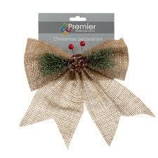 hessian bow decoration 24cm christmas tree decoration 1 75