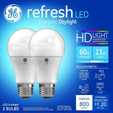 Led Versus Fluorescent Light Bulbs by Ge Refresh 60w Equivalent Daylight 5000k High Definition A19