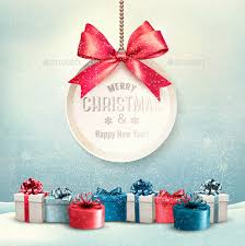 merry card with a ribbon and gift boxes merry