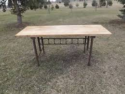 john boos brothers antique butcher block kitchen table w cast iron