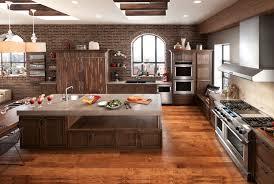 Kitchens With Dark Brown Cabinets Appliances Stainless Steel Canopy Range Hood Dark Brown Cabinets