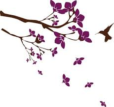 branches and flowers with hummingbird wall decal sticker atr mural