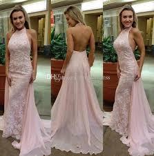 light pink halter dress light pink halter prom dresses 2018 new backless mermaid lace