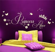 compare prices on children wall art online shopping buy low price princess crown personalised name children girl bedroom wall art sticker removable vinyl transfer decal home decoration