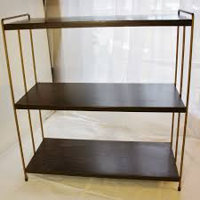 Metal Book Shelves by Vintage All Metal 3 Tier Bookshelf Faux Wood And Gold Mid Century