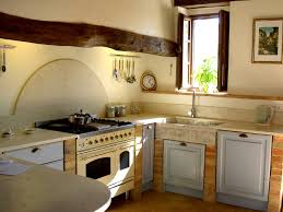 kitchen style white gas range natural finishes cabinets wall