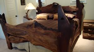 heavenly natural log wooden rustic bed feat branch table lamps as