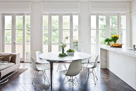 elegant round foyer table in dining room contemporary with long