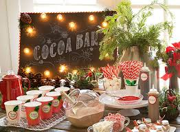 themed christmas decorations hot chocolate station ideas christmas party ideas
