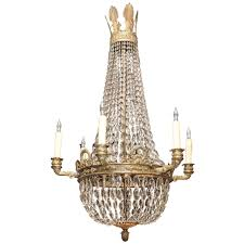 Crystal And Bronze Chandelier Bronze And Crystal Empire Chandelier With 6 Arms At 1stdibs