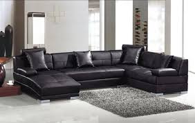 L Shaped Sofa With Chaise Lounge Modern Black Leather U Shape Sectional Sofa With Chaise Modern