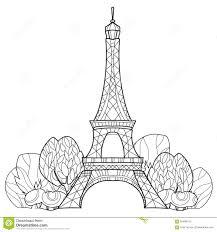 doodle eiffel tower hand drawn vector sketch stock vector