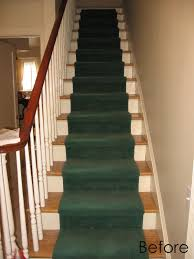 green velvet stairs carpet on white wooden staircase with brown