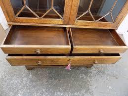 vintage 1930 u0027s oak bookcase cabinet glazed doors drawers shelves