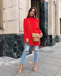 free people slouchy ottoman tunic sweater red sweater denim jeans blue jeans ripped jeans