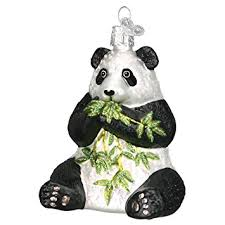 world panda glass blown ornament home