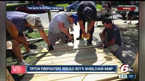 Wheel Chair Ramp Tipton Firefighters Repair Wheelchair Ramp For 9 Year Old