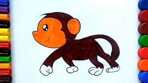 learn colors for children with coloring pages monkey how to draw