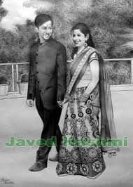 buy couple pencil sketch from portrait painting artist meerut