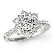 flower engagement rings certified 0 50 carat diamond flower engagement ring diamond