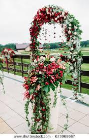 Wedding Arch Wedding Ceremony Wedding Flowers Stock