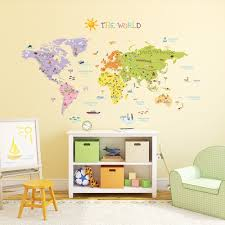 World Map For Kids 24 World Map Wall Decal For Kids Colorful Animal World Map Kids