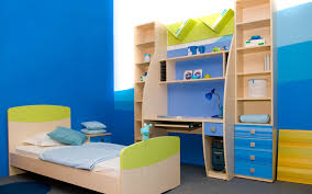shades of blue kids room wall color scheme with colorful papper