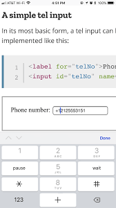 html input pattern safari input type tel html mdn
