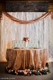Wedding Backdrop Gold Coast Sweetheart Table Rose Gold Details Rolling Hill Farm