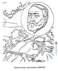 presidents coloring pages benjamin harrison