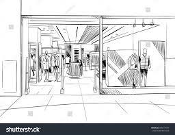 fashion store hand drawn sketch interior stock vector 506817643