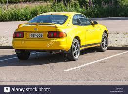 yellow toyota kotka finland july 16 2016 bright yellow facelift toyota