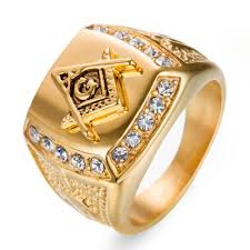 men gold ring 2018 stainless steel ring diamond gold masonic ring ag men