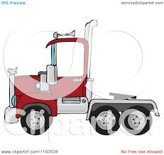 cartoon of a red big rig semi truck cab royalty free vector