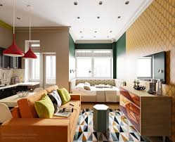 bold colors in small studio apartment unique kitchen floor tiles