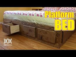 Plans For Platform Bed With Drawers by Make A King Sized Bed Frame With Lots Of Storage Youtube