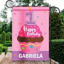 Porch Flags Happy 1st Birthday Personalized Pink Cupcake Girls Birthday Party