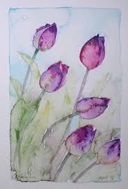 amanda hawkins purple tulips sale price was 80 an original watercolour