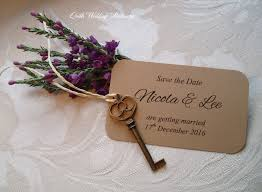 save the date card your presence is key rustic style wedding