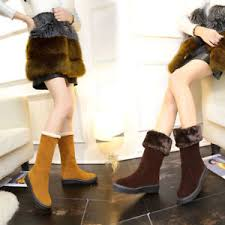 s boots with fur 039 s mid calf boots fur lined casual winter warm suede
