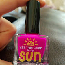 justice pink color change to purple nail polish