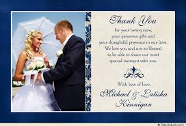 wedding gift thank you notes royal blue wedding photo thank you card special day ivory colors