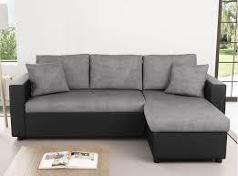 canapé d angle réversible et convertible avec coffre gris noir