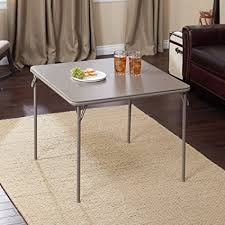 34 folding card table amazon com meco 34 in square vinyl folding card table kitchen