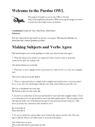 Pronouns And Antecedents Worksheet Purdue Owl Subjectverb Agreement Grammatical Number Subject