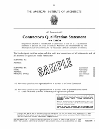 operation organization appendix b sample of a contractor u0027s qualification statement