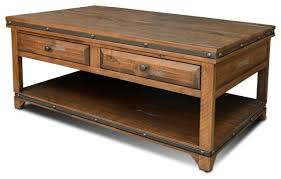industrial coffee table with drawers crafters and weavers rustic distressed reclaimed wood on aged wood