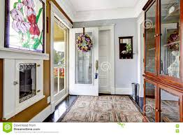 cozy entry room in small craftsman house stock photo image