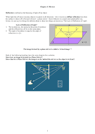 reflection of light in mirrors mirrors general physics lecture notes docsity