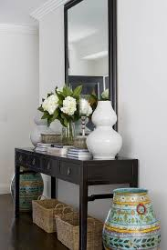entrance table and mirror black console table transitional entrance foyer denai kulcsar